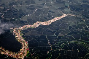 Aerial photo od rice fields on Luzon. The Philippines.