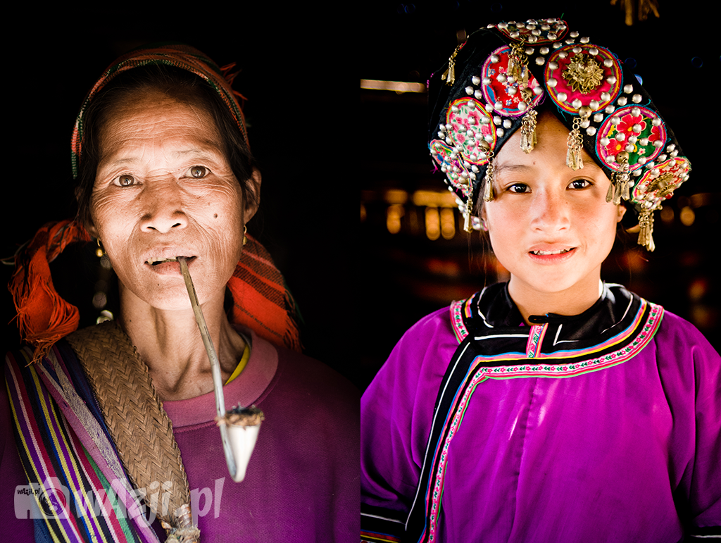 Od lewej: Portret kobiety Khamu z wioski w okolicy Luang Prabang. Od prawej: dziewczyna z ludu Lolo.