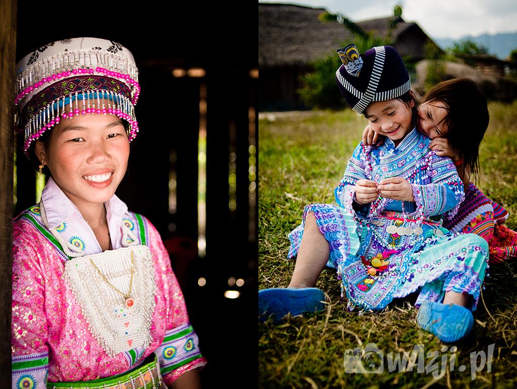 Dziewczyny Hmong podczas lokalnego festiwalu w Muang Sing.