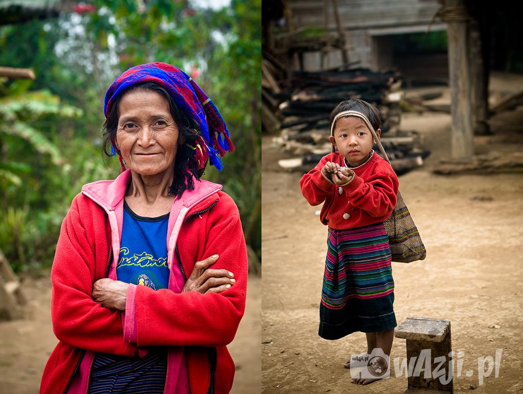 Portrety z wioski Khamu w okolicy Luang Nam Tha.