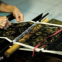 Bali 2008. Ikat, jedna z indonezyjskich tkanin.