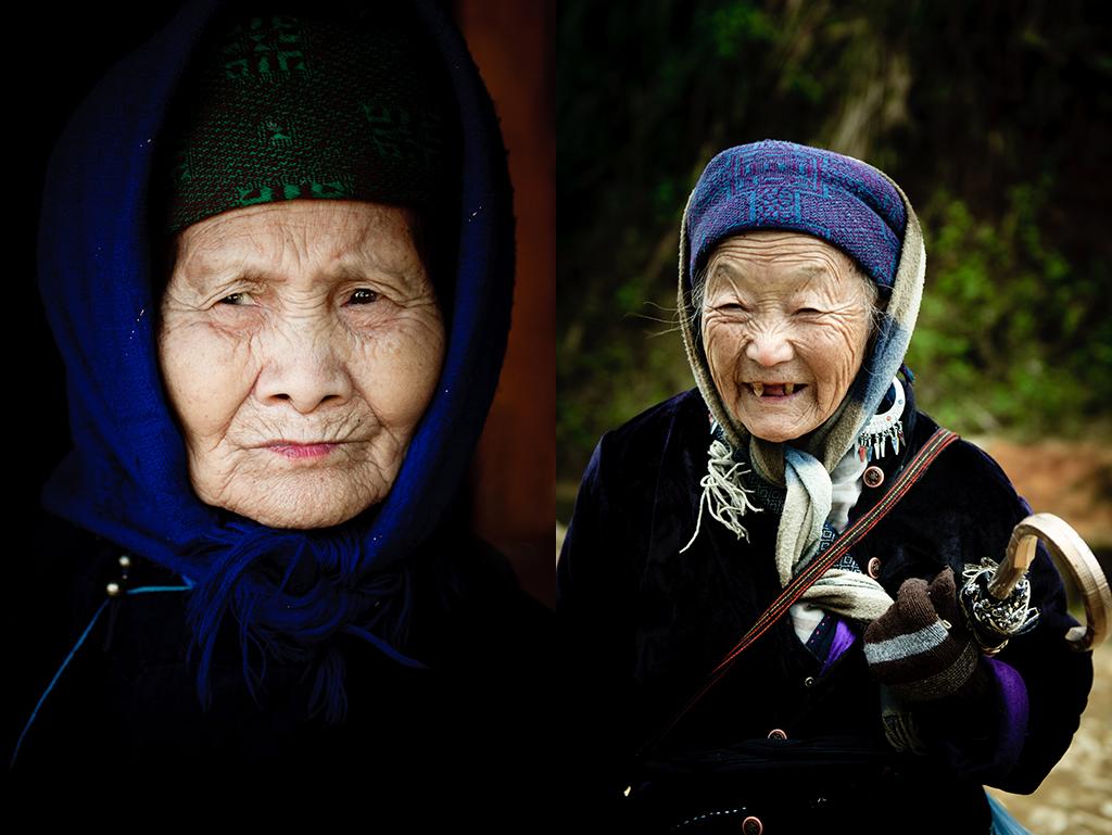 """18. Od lewej: Wietnam, Sapa. Grudzień 2010. Okutana mieszkanka jednej z okolicznych wiosek. 19. Od prawej: Wietnam, Sapa. Grudzień 2010. Kobieta z wioski Hmongów w okolicy Sapa. Na początku 2011 roku zanotowałam: """"W pierwszej wersji usłyszałam, że ta starsza pani ma aż 95 lat, w drugiej, że """"może tylko 87…"""". Mieszka ze swoją rodziną, ale nie chce być tylko na ich utrzymaniu, więc czasami pierze ubrania sąsiadom i w ten sposób zarabia pieniądze. Nie ma żadnej określonej stawki godzinowej, wszyscy płacą jej tyle, ile mogą. Zapewne są to raczej symboliczne kwoty, bo nikt tam nie cierpi na nadmiar gotówki. Zresztą bardzo często mieszkańcy wioski wcale nie chcą, aby to ona robiła im to pranie, bo przecież mogą je zrobić sami, ale… nie potrafią jej odmówić."""""""