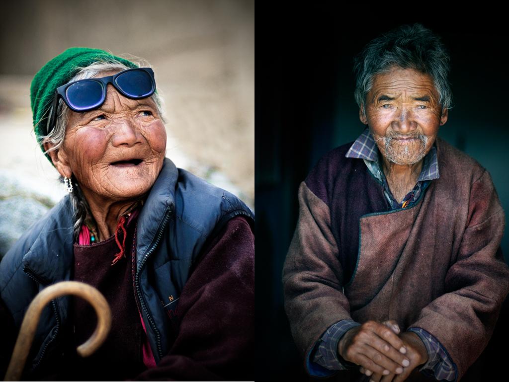 15. Od lewej: Indie, Ladakh. Lipiec 2010. Leciwa uczestniczka festiwalu w klasztorze w Phyang. 16. Od prawej: Indie, Ladakh. Lipiec 2010. Dziadek Gongma, wówczas prawdopodobnie najstarszy mieszkaniec wioski Spangmik nad jeziorem Pangong Tso.