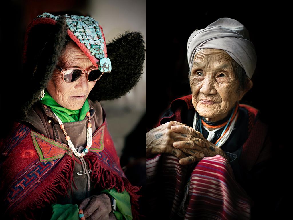 10. Od lewej: Indie, Ladakh. Lipiec 2010. Kobieta podczas festiwalu w Korzoku.  11. Od prawej: Tajlandia, Mae Sariang. Czerwiec 2012. Jedna z najstarszych mieszkanek wioski Karenów w okolicy Mae Sariang.