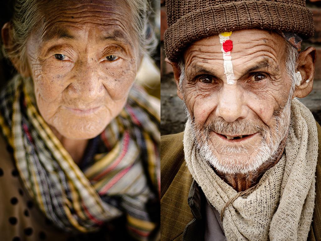 6. Od lewej: Birma, Mandalay. Styczeń 2010. Kobieta na schodach świątyni. 7. Od prawej: Nepal, Patan. Marzec 2009. Przechodzień na ulicy Patanu.