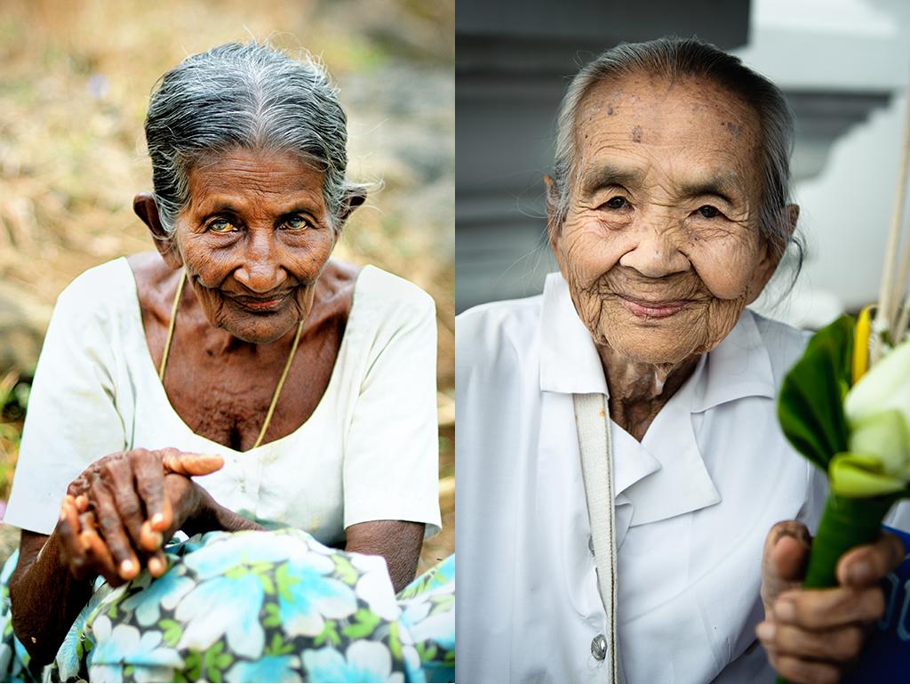 23. Od lewej: Sri Lanka, Dambulla. Sierpień 2009. Starsza pani spotkana w świątyni. 24. Od prawej: Tajlandia, Chiang Mai. Czerwiec 2012. Starsza pani spotkana w świątyni.