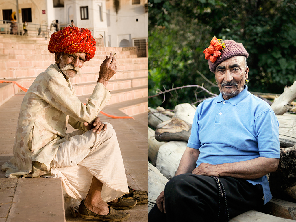 32. Od lewej. Indie, Puszkar. Kwiecień 2011. Mieszkaniec Radźastanu palący papierosa przy jednym z ghatów. 33. Od prawej. Indie, Ladakh. Lipiec 2010. Mieszkaniec Dha-Hanu, przedstawiciel legendarnego ludu Brokpa.
