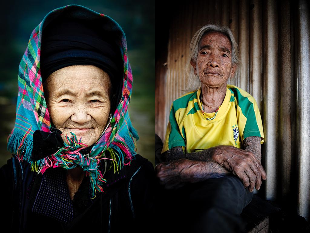 28. Od lewej: Wietnam, Sapa. Grudzień 2010. Starsza pani Hmong. 29. Od prawej. Filipiny, Kalinga. Luty 2013. Jedna z najstarszych wówczas mieszkanek wioski Buscalan. W ubiegłym roku, kiedy przywiozłam jej zdjęcia, dowiedziałam się, że już nie żyje.